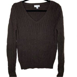 St. John's Bay Brown V-Neck Cable Knit Sweater M